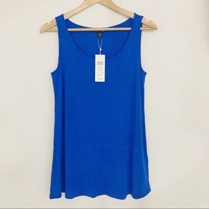 Eileen Fisher Silk Stretch Jersey Tank Blue